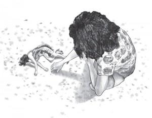 """ציור העטיפה: יעל שמושקוביץ, """"שממית"""", טכניקה מעורבת, 2016"""